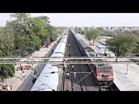 Aerial View : Late running Kota Patna Express meets Ujjaini Express at Farah Railway Station