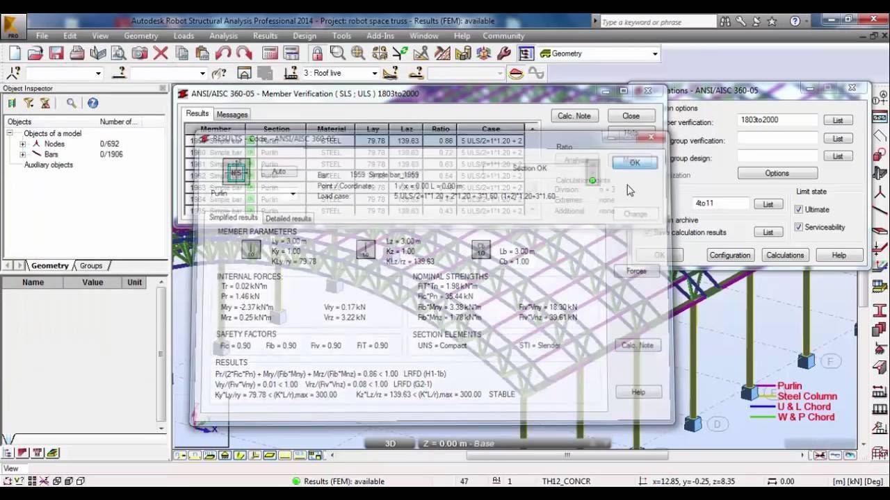 Robot Structural Analysis-Analysis and Design of Space Truss(Triangular  Arch Truss) 03/03