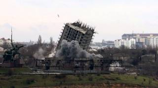 Неудачный снос 16-этажного дома в Севастополе – третий взрыв (HD)
