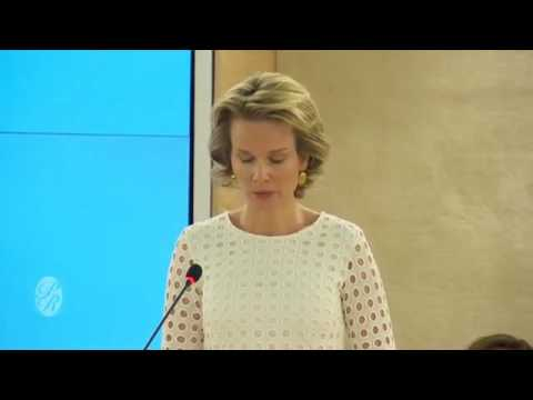 Le discours de la Reine Mathilde des Belges - Queen Mathilde of  Belgium delivers a speech.