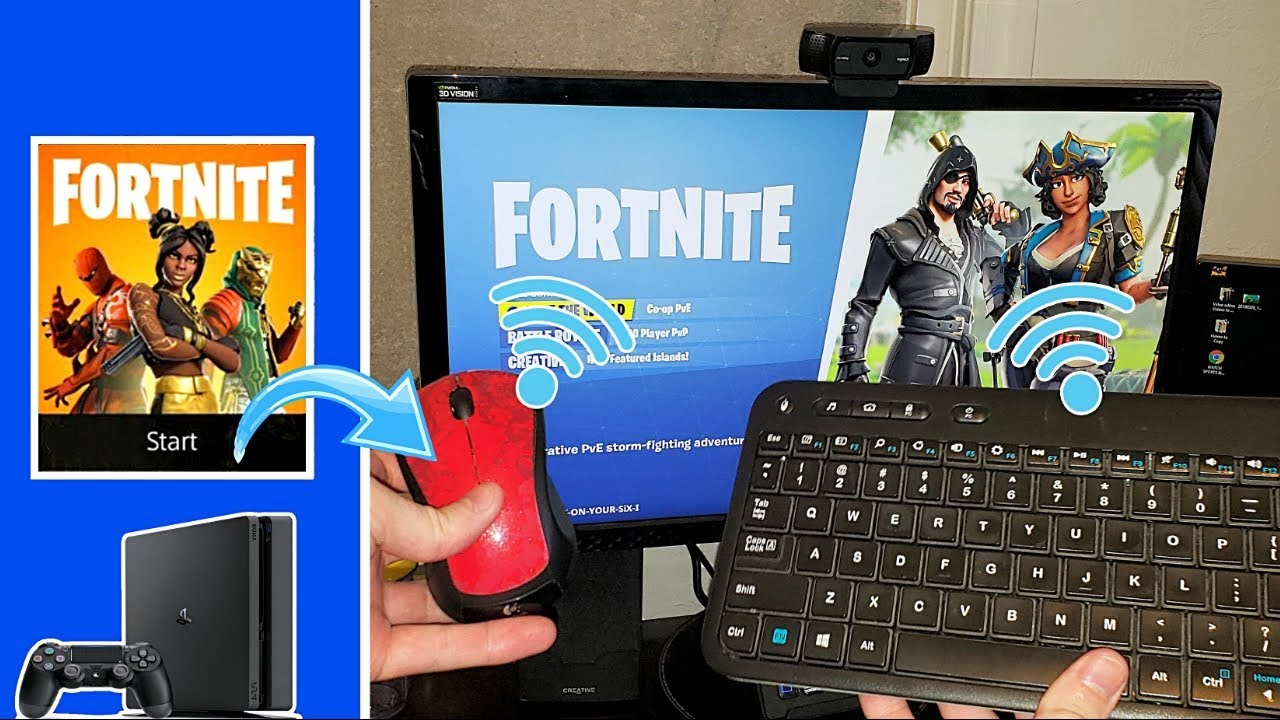 how to connect wireless keyboard and mouse to ps4 be overpowered in fortnite youtube. Black Bedroom Furniture Sets. Home Design Ideas