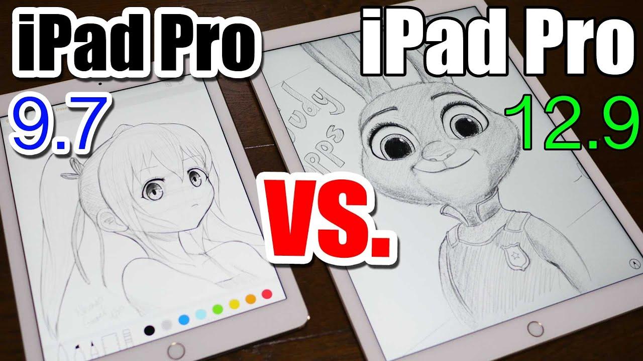 ipad pro 9 7 vs 12 9 apple pencil drawing comparison. Black Bedroom Furniture Sets. Home Design Ideas