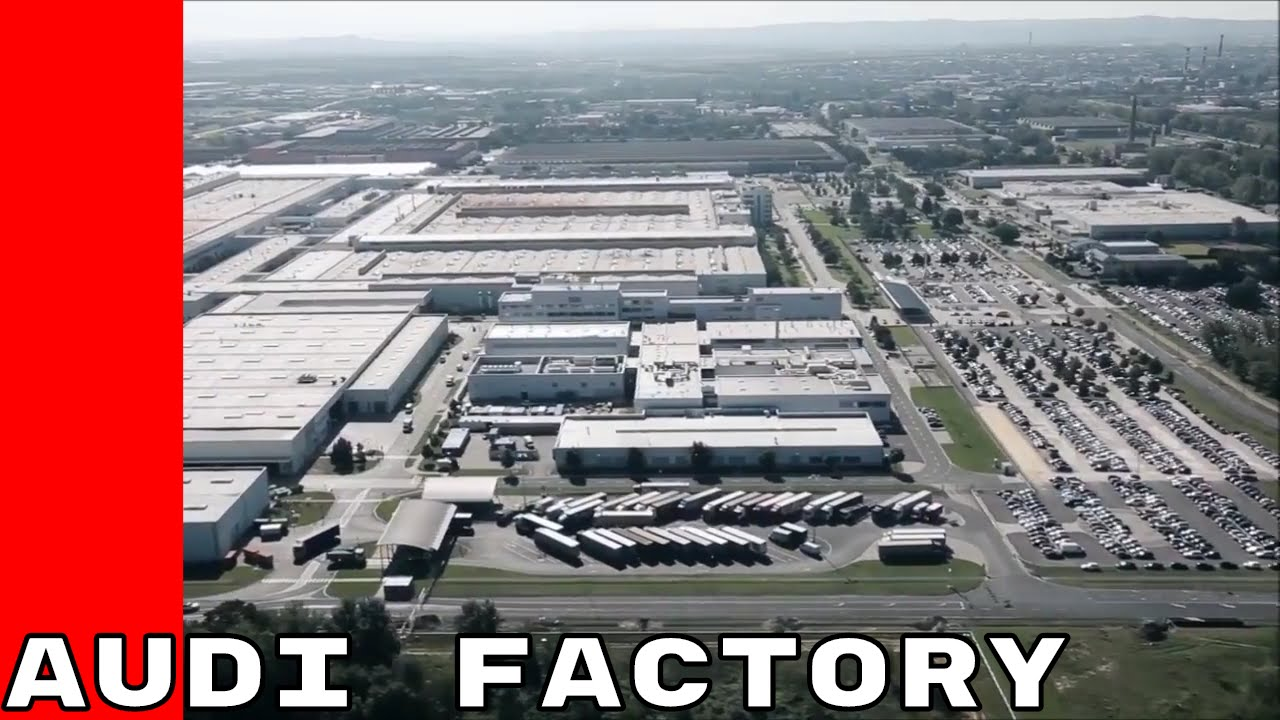 aerial views of audi plant factory in gy r hungary youtube. Black Bedroom Furniture Sets. Home Design Ideas