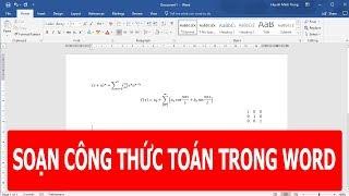 Hướng dẫn soạn thảo công thức toán học trong word