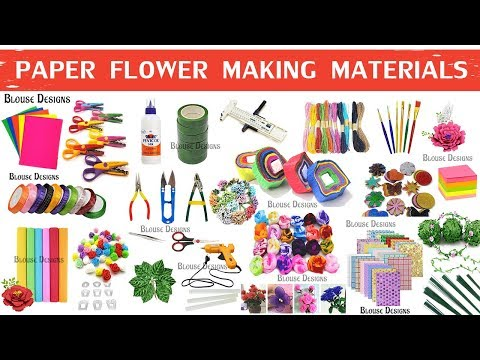 Paper flower making materials, Flower making items name, craft materials