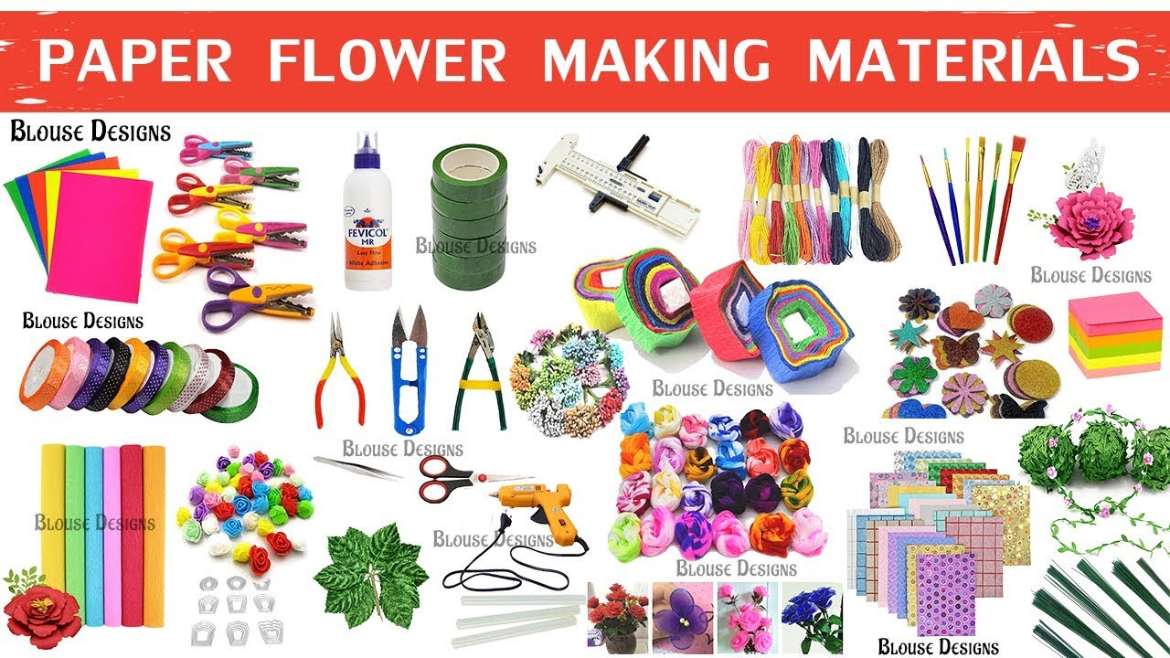 Paper Flower Making Materials Flower Making Items Name Craft Materials Youtube