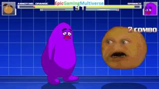 Grimace VS The Annoying Orange On The Hardest Difficulty In A MUGEN Match / Battle / Fight
