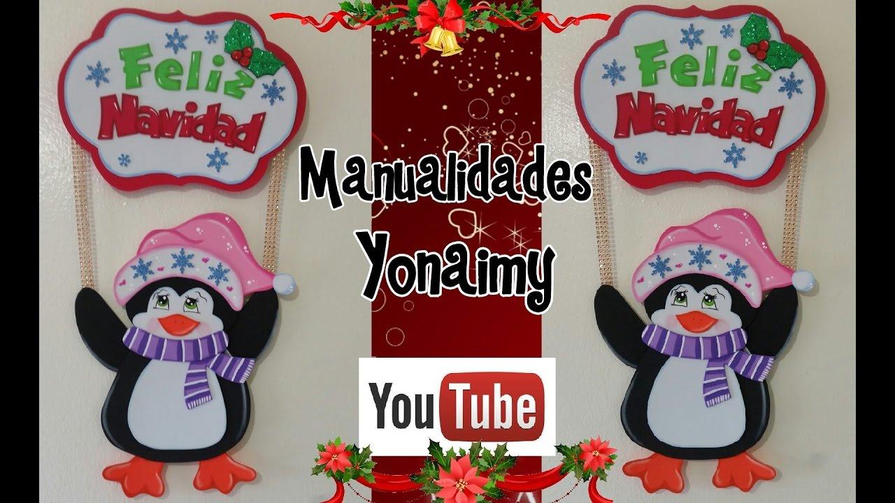 Pinguino navide o para adorno de pared hecho con foamy o - Adornos navidenos de goma eva ...