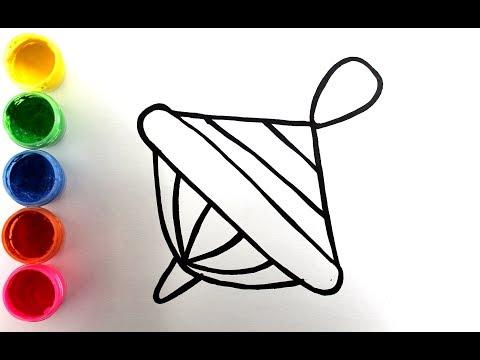 Рисуем игрушки поэтапно. Как рисовать мяч, юлу и пирамидку. рисуем гуашью. Игрушки для малышей.