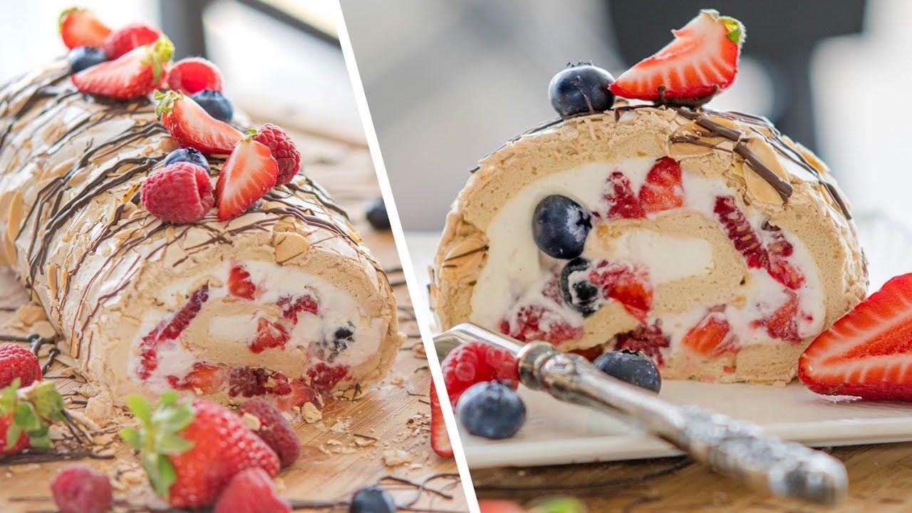МЕРЕНГОВЫЙ РУЛЕТ ПАВЛОВА   торт десерт из безе с ягодами и ...