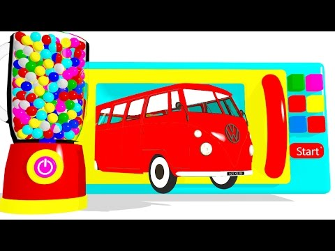 Thumbnail: Learn Colors & Microwave Color Bus w Cars Superheroes for Children - Surprise Eggs Colors for Kids
