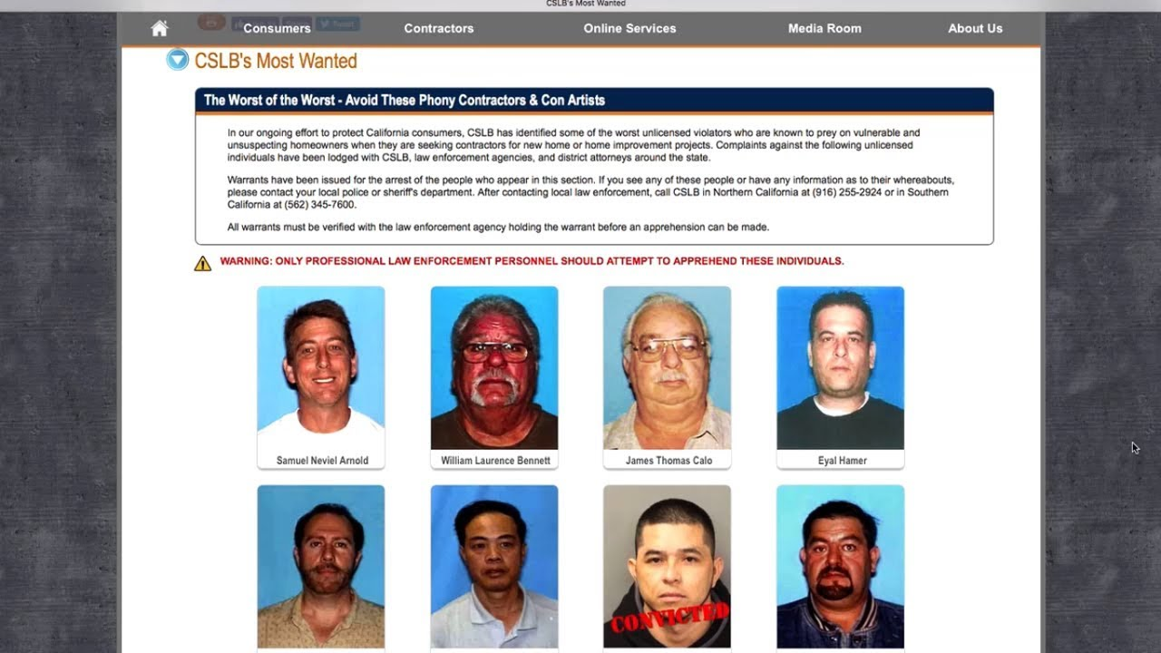 Warning: CSLB's Most Wanted Contractors