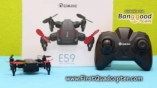 Eachine E59 review: un-boxing and maiden flight