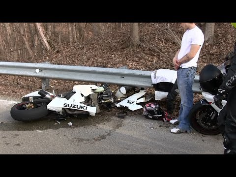 Motorcycle Crash Bike Ripped In Half Lowside Motorcycle