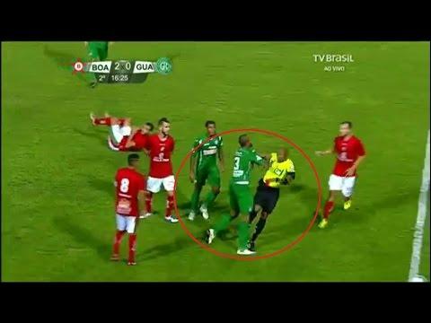 Brazil Football Player Attacks Referee For Stupid Red Card Ferreira Guarani 061116