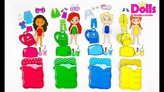 🎈👗🍕PAPER DOLLS PAJAMA PARTY DRAWING CLOTHES & PLAYING WITH DOLLS GAMES FOR KIDS
