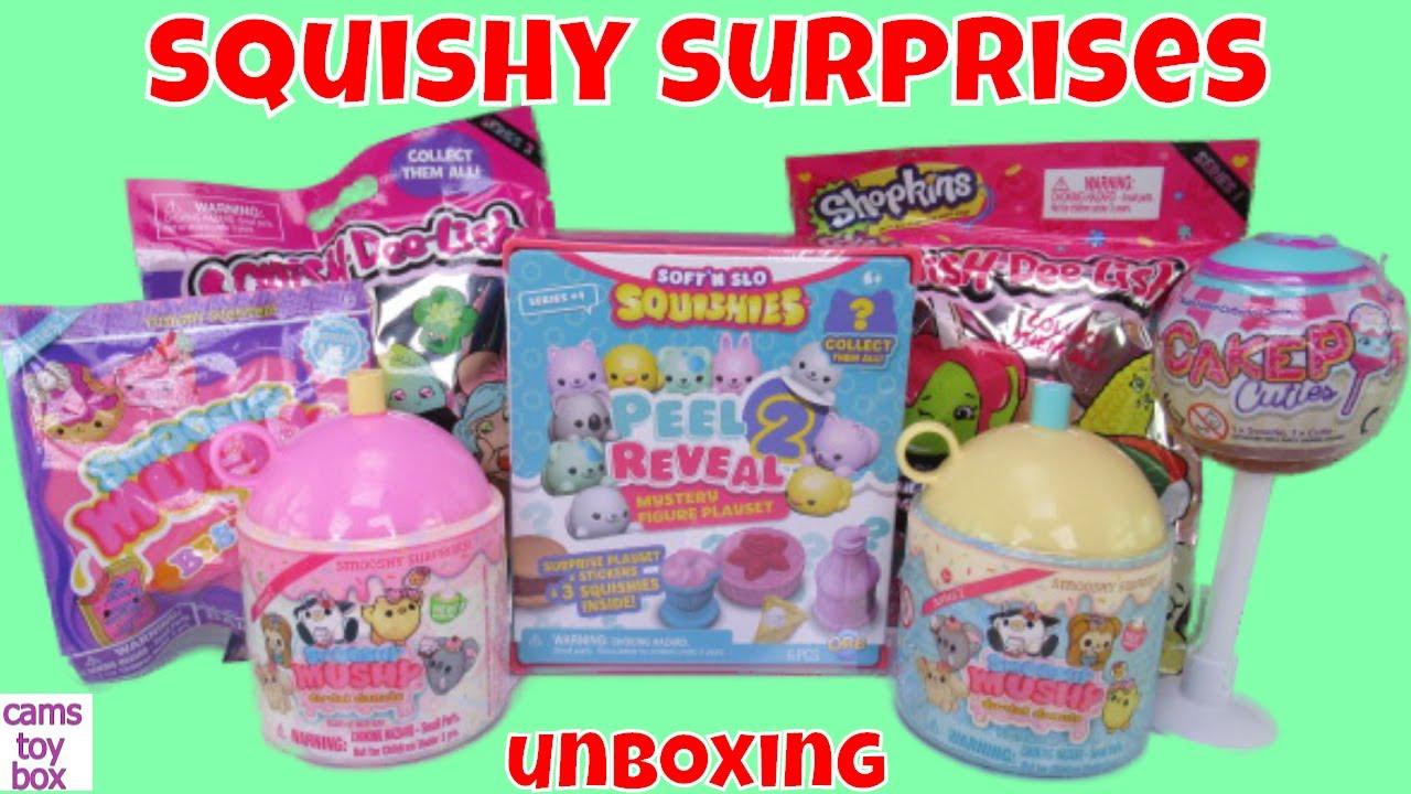 Squishy Surprise Toys Smooshy Mushy Shopkins Squish Dee Lish CakePop Cuties Squishies - YouTube