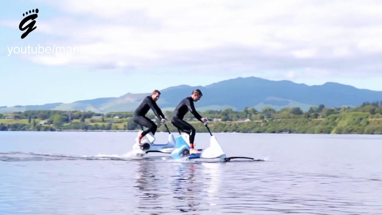 Like Riding A Bike On Water Manta5 Hydrofoil Bike Youtube