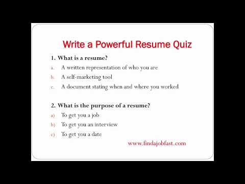 How to write a powerful resume to find a job fast - YouTube - how to write a resume for a job interview