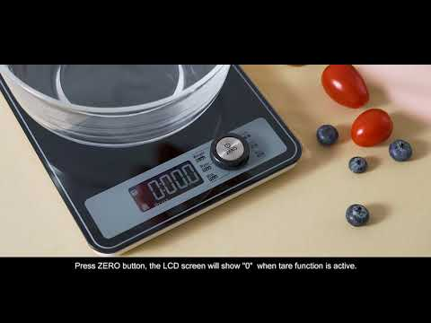 NUTRI FIT Extra Wide Surface Digital Kitchen Scale Grams and Oz Tempered Glass Food Scale.