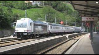 """Bombardier TRAXX 253 Renfe en Pajares 6-5-2008 y otros trenes   """"Pajares pass"""""""