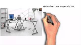 Techni Mobili L-shaped Computer Desk - Glass
