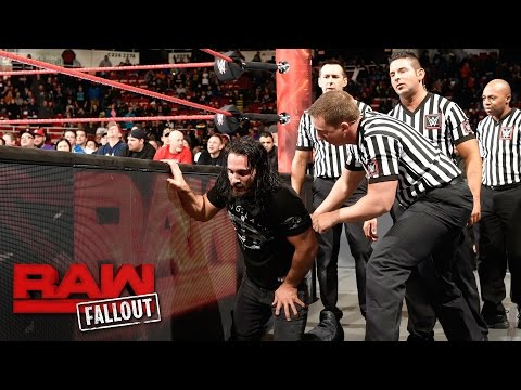 Seth Rollins is helped out of the arena after his encounter with Triple H: Raw Fallout, Mar 13, 2017