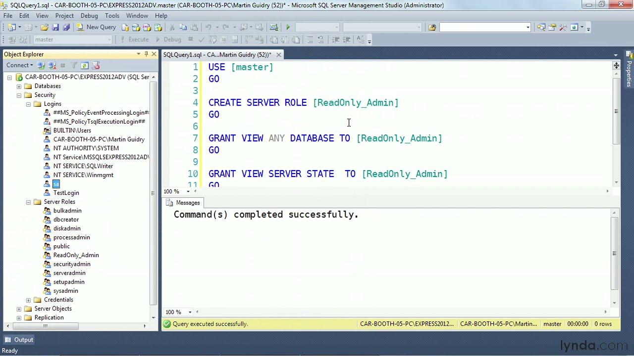 SQL Server tutorial: Creating user-defined server roles | lynda com