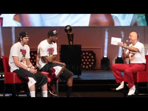 Mike Miller and Udonis Haslem are interviewed at the 2013 Heat Championship Parade