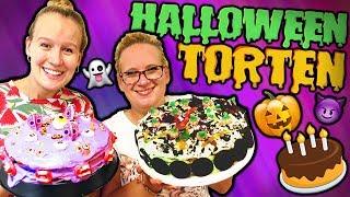 HALLOWEEN Torten Challenge 🎃 Kathi vs Eva 🎃 Super schöne & leckere Torten Ideen