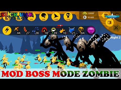 🙀 UNBELIEVABLE MANY BOSS ZOMBIE 😱 MODE HELL ENDLESS DEADS 😂 STICK WAR LEGACY MOD APK#3 | Gaming #FHD
