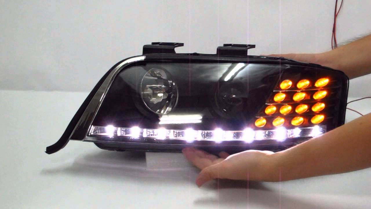 crazythegod a6 s6 1997 2001 c5 4b projector led r8 headlight w amber black for audi [ 1280 x 720 Pixel ]