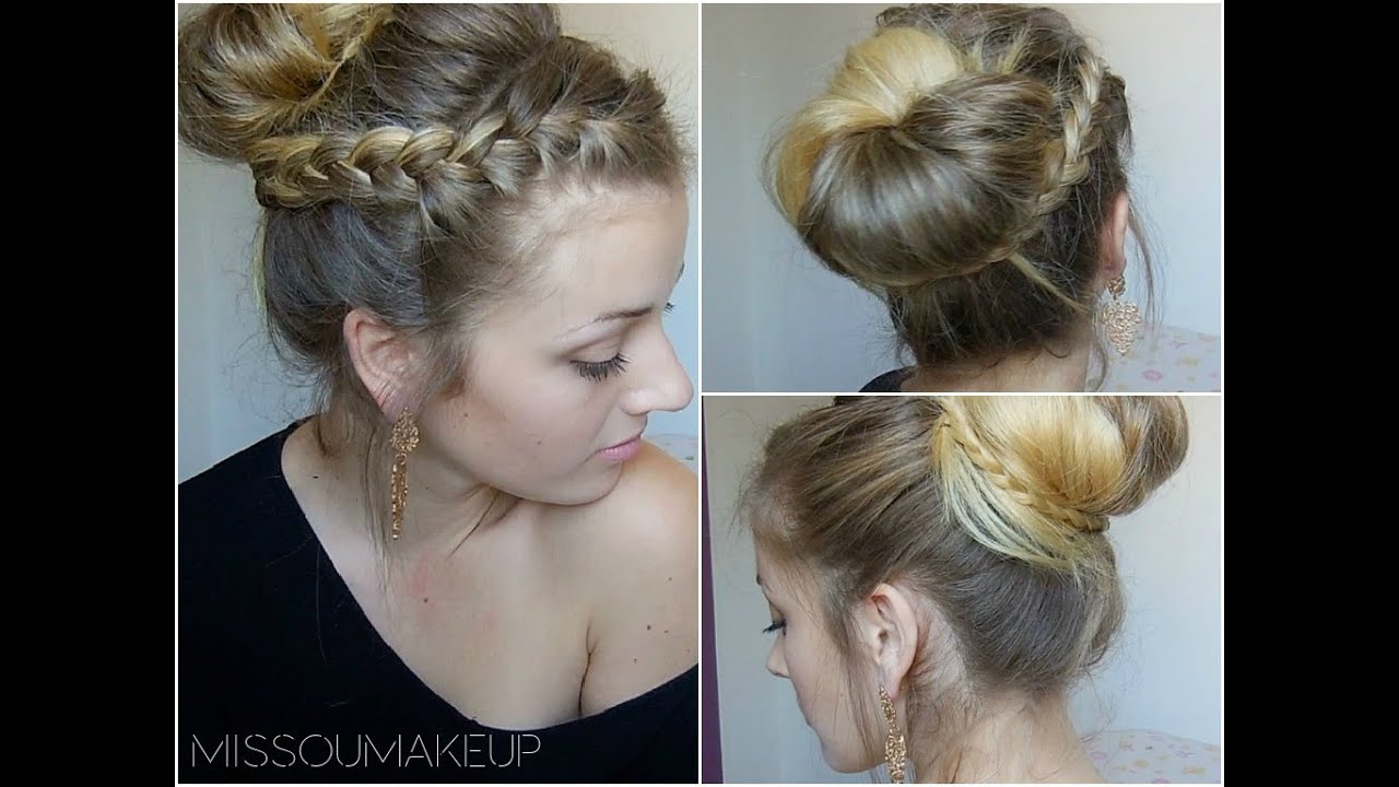 tutoriel coiffure chignon avec tresse youtube. Black Bedroom Furniture Sets. Home Design Ideas