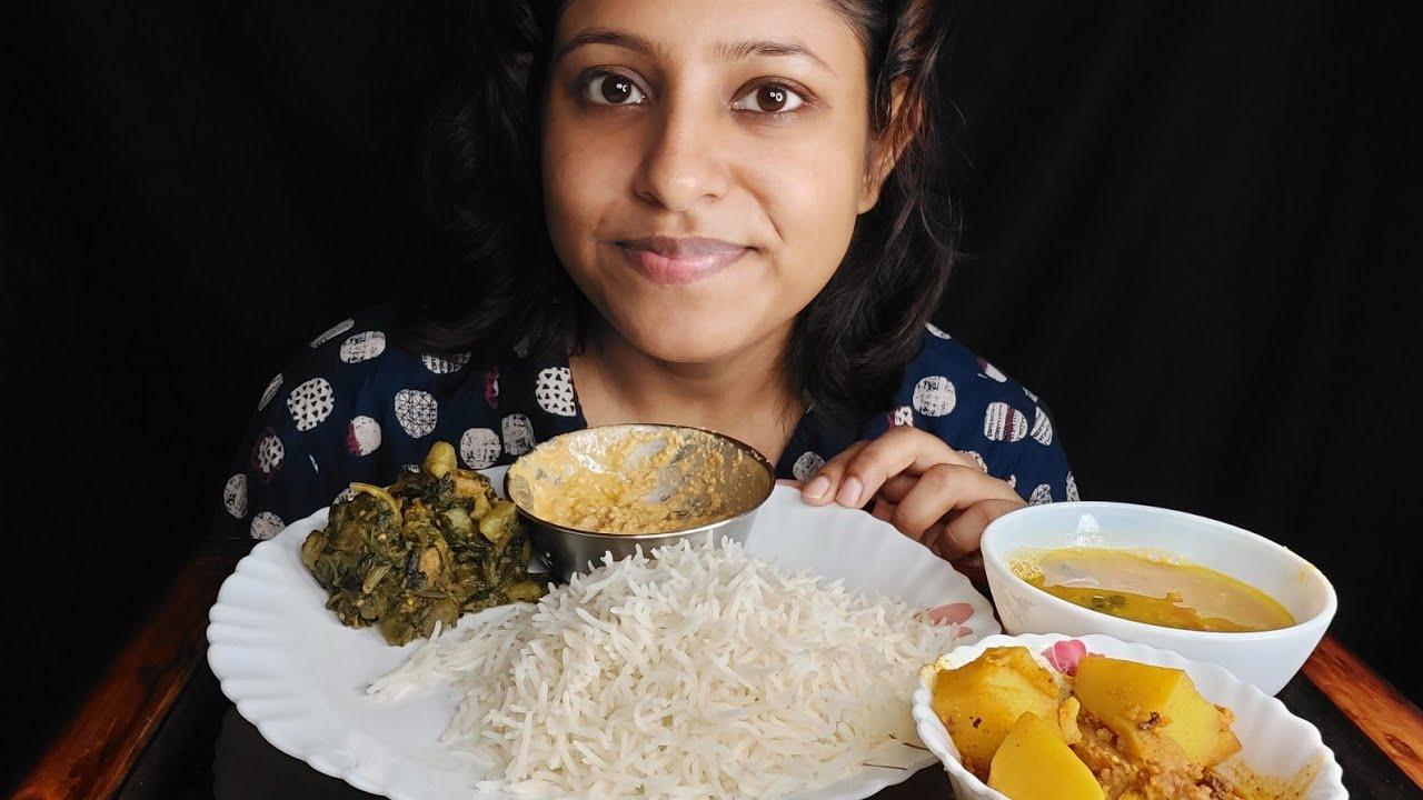 Eating Show - Rice(chawal), Dal, Palang Sak, Dhokar Dalna, Posto Bata|Poulami Eating Show|Mukbang