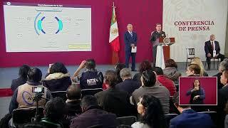 Conferencia de prensa de López Obrador en México.