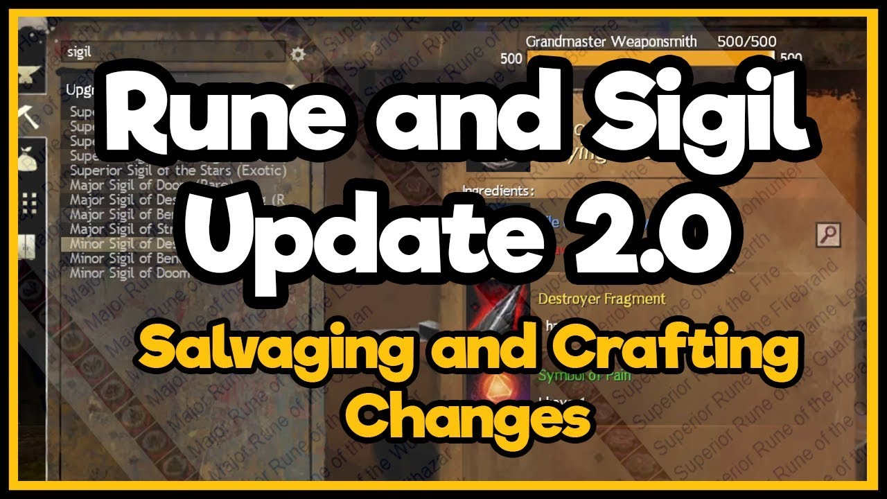 Guild Wars 2  - Rune and Sigil Update 2.0 (Salvaging and Crafting)