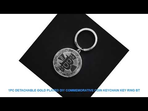 1pc Detachable Gold Plated DIY Commemorative Coin Keychain Key Ring BT