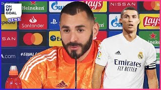 Benzema's reaction to being asked about Cristiano Ronaldo returning to Real Madrid | Oh My Goal