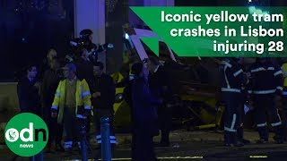 Iconic yellow tram crashes in Lisbon injuring 28