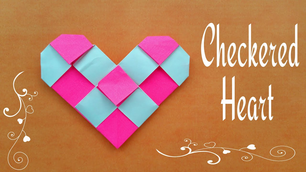 Checkered Heart For Valentines Day Origami Tutorial From Paper