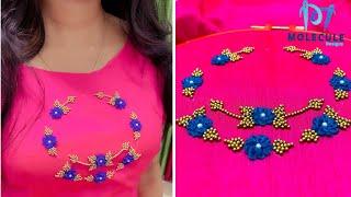ഇത്ര എളുപ്പമായിരുന്നോ ഈ design | Beautiful Hand Embroidery Neck Design😍😍😍