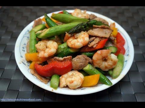Hong Kong Recipe: Stir-fried Asparagus with Shrimp and Pork