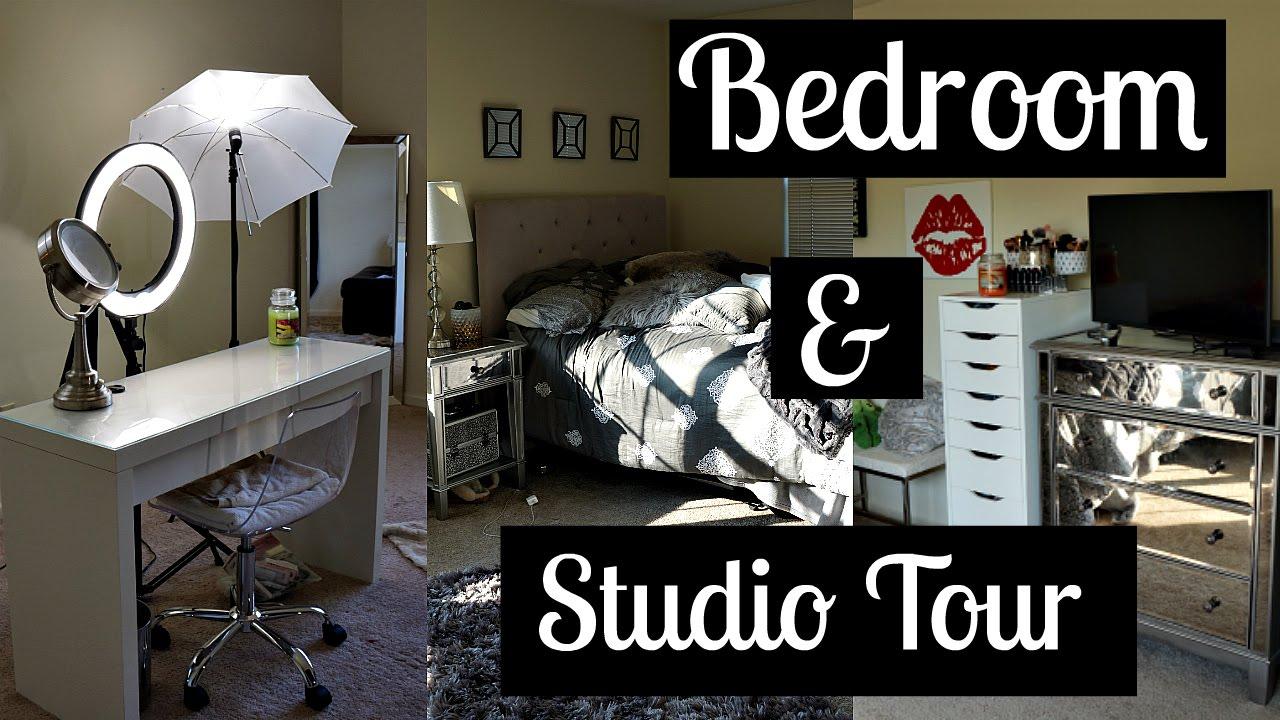 Bedroom & Makeup Studio Tour - YouTube on Makeup Bedroom  id=44249