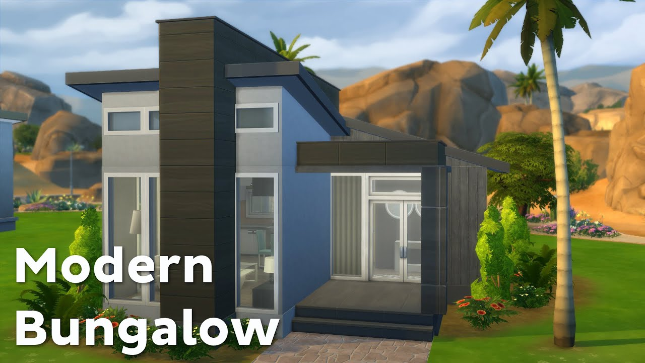 The Sims 4: House Building - Modern Bungalow - YouTube