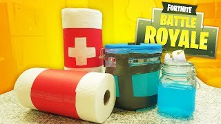 FORTNITE ITEMS IN REAL LIFE!! HOW TO MAKE CHUG JUG, SHIELD POTION AND BANDAGES!!
