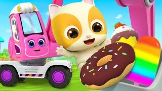 Excavator Digs Yummy Food | Fire Truck, Police Car | Nursery Rhymes | Kids Songs | BabyBus