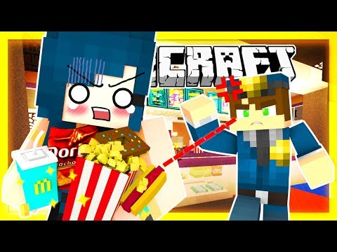 Minecraft - I'M SO BAD!! SNEAKING FOOD INTO THE MOVIE THEATRE & I GET CAUGHT! (Minecraft Roleplay)