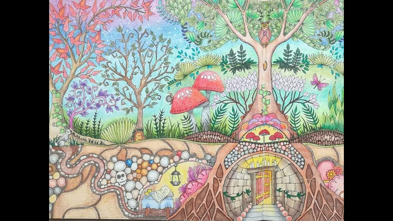 Completed Enchanted Forest Colouring Book A Flip Through Youtube