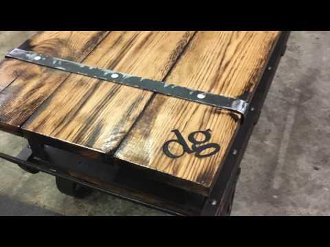 Reclaimed industrial rail cart table. Oak and metal ironwork