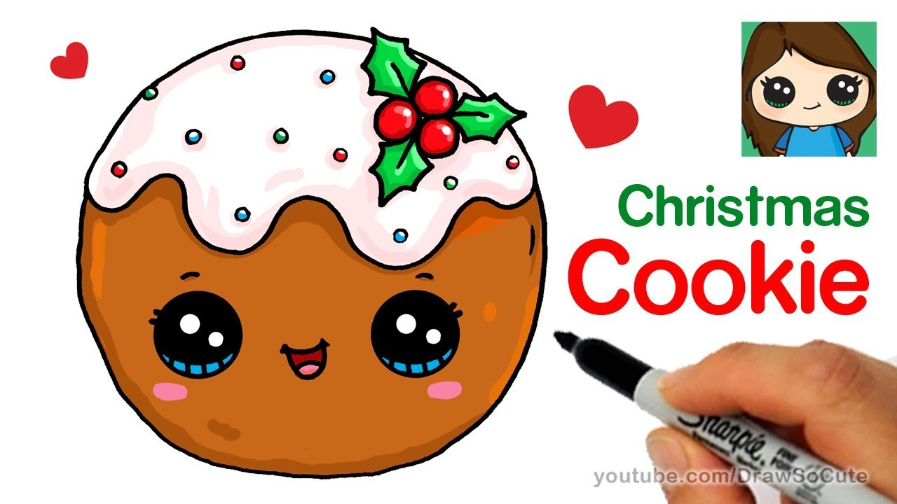 Christmas Pictures To Draw.How To Draw A Cookie For Christmas Easy And Cute